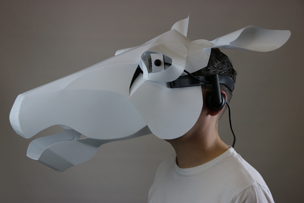 The design probe helps the wearer 'see like a horse' so that they can better understand how a horse experiences the world.
